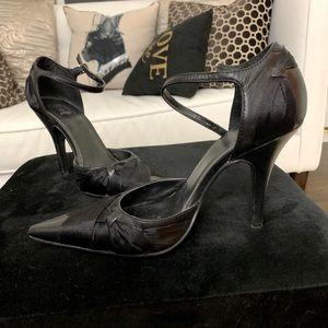 Black Pointed Leather Heels